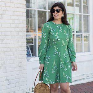 Loft Green Flower Branch Long Sleeve Shirtdress